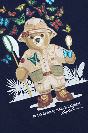 גילאי 5-7 חולצת דובי לוכד פרפרים בנייבי POLO RALPH LAUREN KIDS