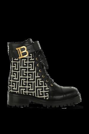 Ranger Monogram Boots in Black and White BALMAIN