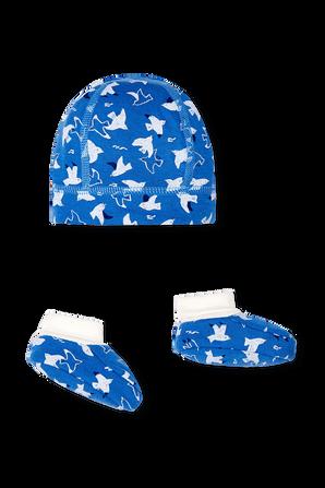 גילאי NB-12 חודשים סט נעלי בית וכובע גרב בהדפס ציפורים PETIT BATEAU