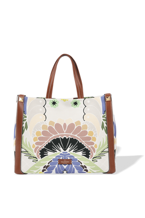 Small Canvas Tote Bag With Print in Brown VALENTINO