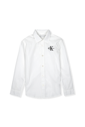 גילאי 4-16 חולצה מכופתרת לבנה CALVIN KLEIN