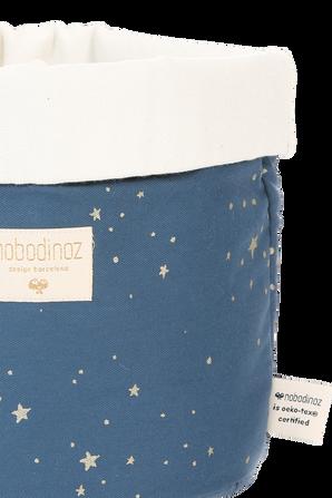 סל אחסון מדיום בגוון כחול דפוס כוכבים מוזהב NOBODINOZ