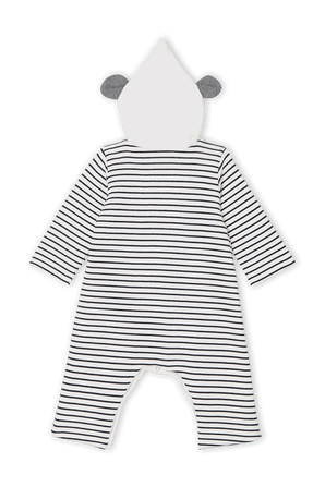 גילאי NB-18 חודשים אוברול פסים עם כובע ארנב PETIT BATEAU