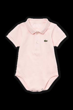 גילאי 6-12 חודשים מארז בגד גוף בגזרת פולו באפרסק LACOSTE KIDS