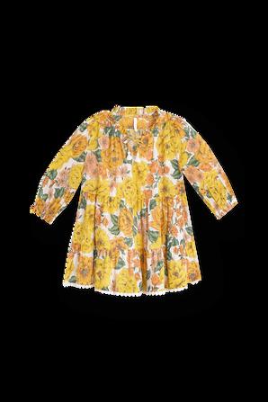 גילאי 1-10 שמלת שכבות פופי בהדפס פרחוני ZIMMERMANN KIDS