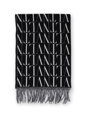 VLTN Wool Scarf in Black and White VALENTINO