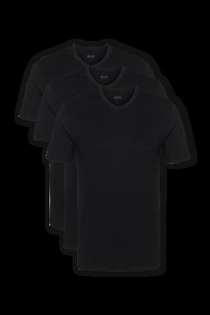 Three Pack of V Neck Underwear Tee in Black Cotton BOSS