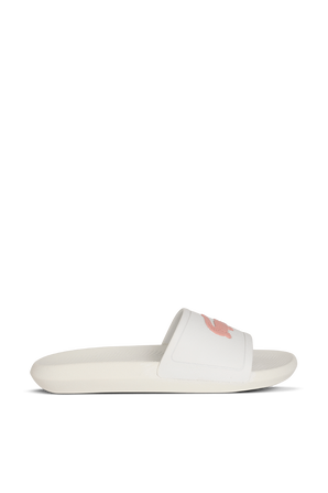 Croco Slides In White And Pink LACOSTE