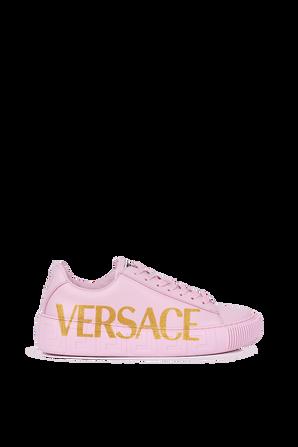 Greca Logo Trainers in Pink VERSACE