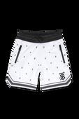 גילאי 3-14 מכנסיים קצרים בהדפס מונוגרמה וכוכבים בלבן