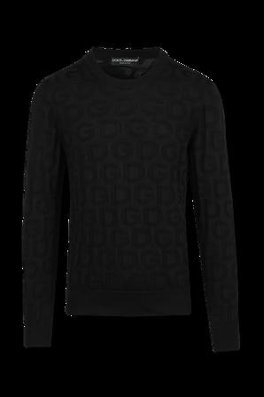 Silk Round-Neck Sweater in Blue DOLCE & GABBANA