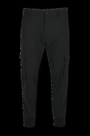 Slim Fit Cargo Trousers In Black Stretch Twill HUGO