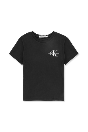גילאי 4-16 חולצת טי עם לוגו בחזה בשחור CALVIN KLEIN