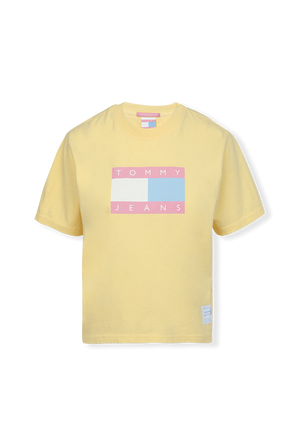 Flag T-Shirt in Pastel Yellow TOMMY HILFIGER
