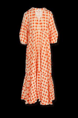 Bell Sleeve Dress in Orange Zest Gingham VICTORIA BY VICTORIA BECKHAM