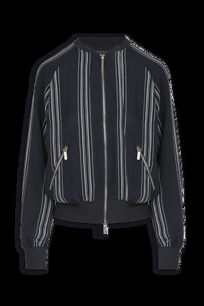 Striped Chiffon Bomber Jacket In Black ARMANI EXCHANGE