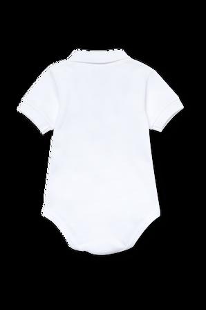 גילאי 6-12 חודשים מארז בגד גוף בגזרת פולו בלבן LACOSTE KIDS