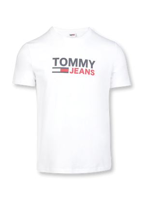 Stretch Organic Cotton Jersey Logo Tee in White TOMMY HILFIGER