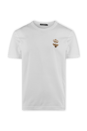 White Cotton Tee with French Wire Crown Embroidery DOLCE & GABBANA