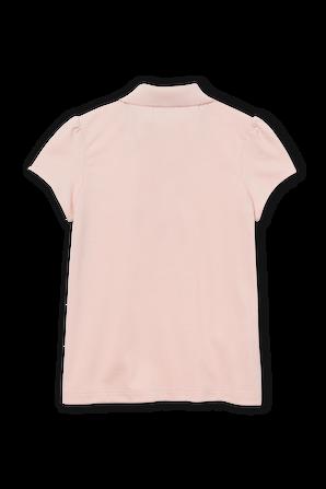 גילאי 2-12 חולצת פולו באפרסק עם פאצ לוגו וכיווץ בשרוולים LACOSTE KIDS