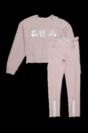גילאי 6-16 סט ספורטיבי הכולל מכנסי טייץ וסווטשירט בצבע ורוד FILA
