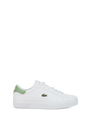 מידות 18-21.5 נעלי סניקרס לבנות עם נגיעות צבע ירוקות LACOSTE KIDS