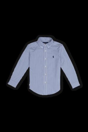 גילאי 5-7 חולצת פולו מכופתרת ארוכה עם פסים בכחול ולבן POLO RALPH LAUREN KIDS