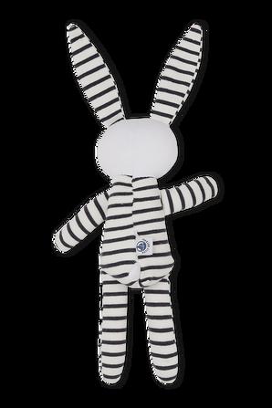 בובת ארנב בלבן עם פסים כחולים PETIT BATEAU