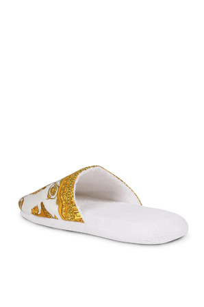 Barouque Slippers in White and Gold VERSACE