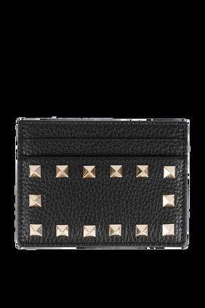 Rockstud Leather Cardholder in Black VALENTINO