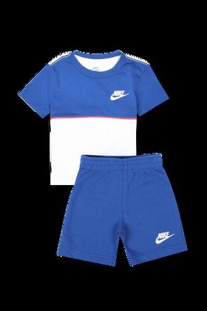 גילאי 2-4 חודשים חליפת לוגו קולור בלוק בכחול ולבן NIKE