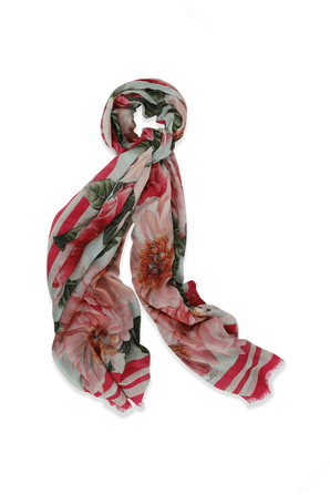 Hydrangea-print Large Scarf in Pink and White DOLCE & GABBANA