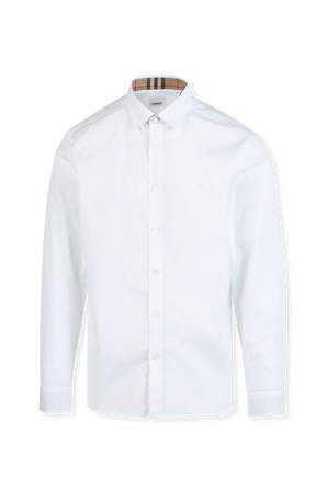Contrast Button Stretch Cotton Shirt in White BURBERRY