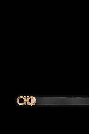 Adjustable and Reversible Gancini Belt in Black and Blue SALVATORE FERRAGAMO