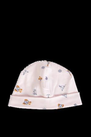 כובע גרב בגוון ורוד בייבי עם איורים POLO RALPH LAUREN KIDS