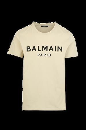 Balmain Logo Tshirt in Beige BALMAIN