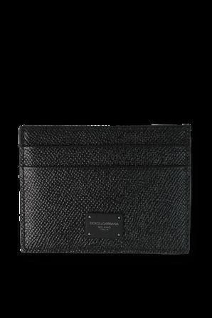 Logo Leather Card Holder in Black DOLCE & GABBANA