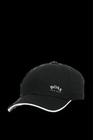 Logo Print Baseball Cap in Black BOSS
