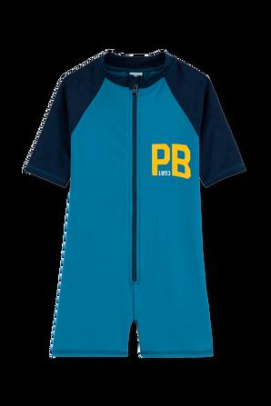 גילאי 3-12 בגד ים אוברול בכחול PETIT BATEAU