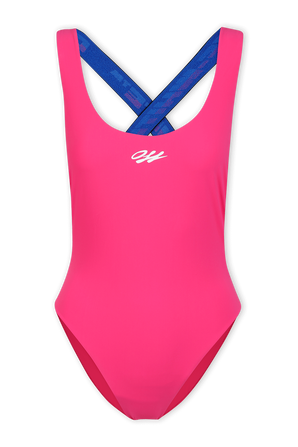 Back Cross One-Piece Swimsuit in Pink OFF WHITE
