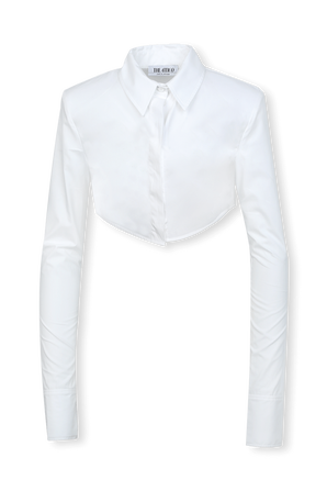 Crop Button Shirt in White THE ATTICO
