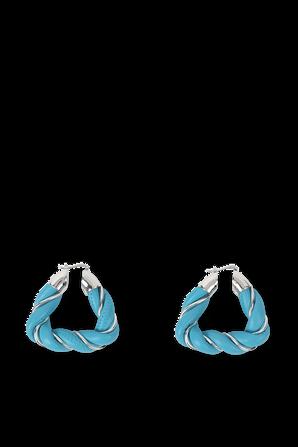 Triangle Earrings in Blue and Silver BOTTEGA VENETA