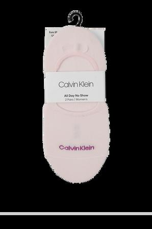 2P Sneaker Liner Socks in Grey and Pink CALVIN KLEIN