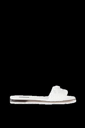 Flat Slides In White Leather DOLCE & GABBANA