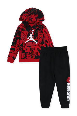 גילאי 2-4 סט סווטשירט ומכנסיים בגווני שחור ואדום JORDAN