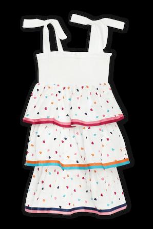 גילאי 1-10 שמלת שכבות פופי בהדפס לבבות ZIMMERMANN KIDS