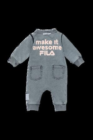 גילאי NB- 12 חודשים אוברול ג'ינס עם לוגו בגוון כחול FILA