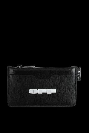 Logo Zip Card Holder in Black OFF WHITE