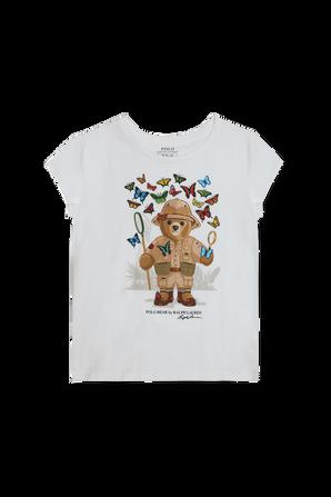 גילאי 5-7 חולצת דובי לוכד פרפרים בלבן POLO RALPH LAUREN KIDS