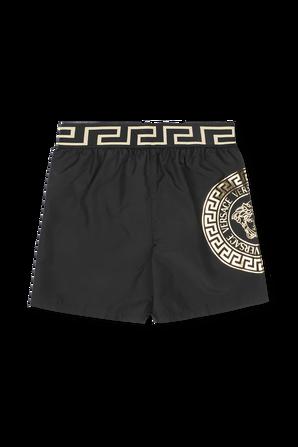 גילאי 4-6 בגד ים בגוון שחור עם סטרייפ לוגו VERSACE KIDS